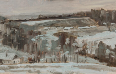 The first snow - oil on gesso board - 30x20cm